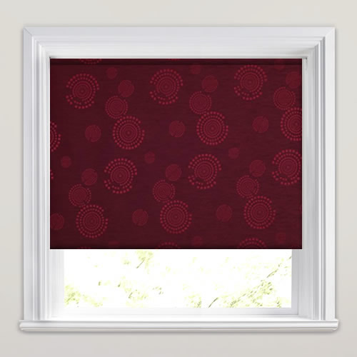 Shimmering Red Amp Burgundy Circles Patterned Blackout