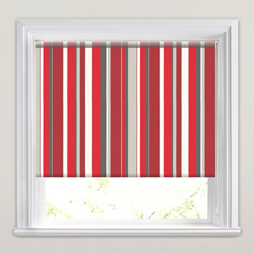 Colourful Red Grey Amp White Vertical Striped Roller Blinds