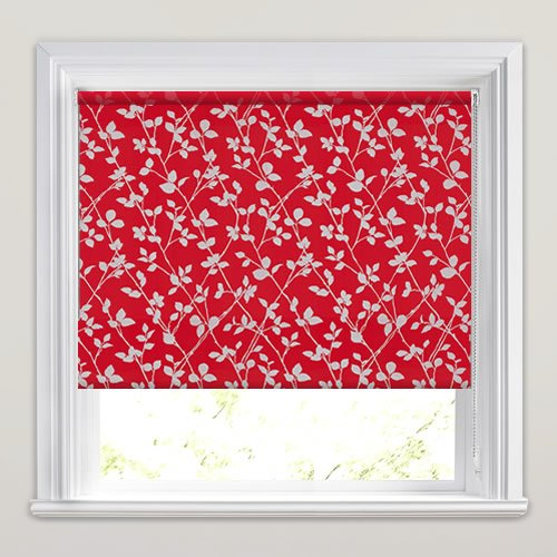 Contemporary Red Amp Metallic Silver Leaves Patterned Roller