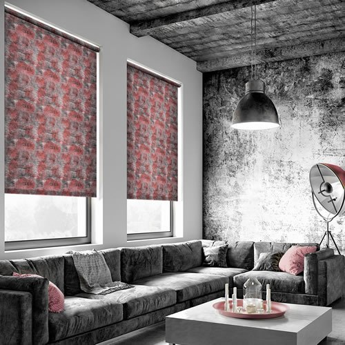 Dyed Concrete Patterned Roller Blinds In Orange Red Grey