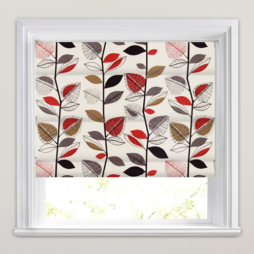 Autumn Leaves Red Berry Roman Blind