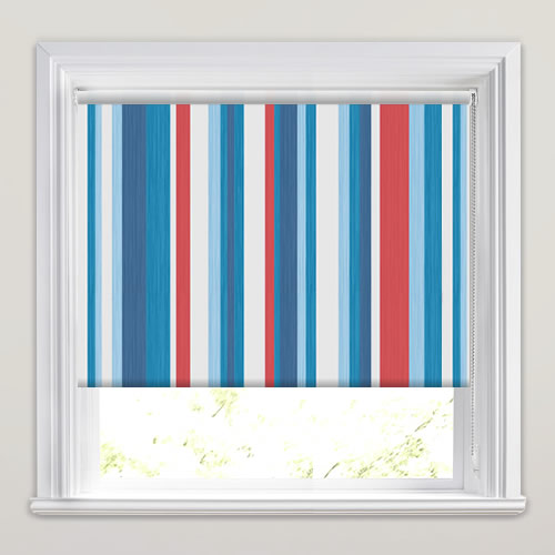 Kids Striped Blackout Bedroom Roller Blinds In Red White