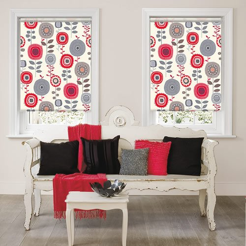 Funky Retro Red Amp Grey Abstract Flowery Patterned Roller