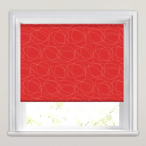 Bright Vibrant Red Amp White Swirling Patterned Roller Blinds