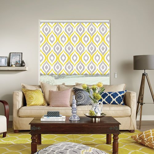 Vintage Vibrant Yellow Harlequinesque Patterned Blackout