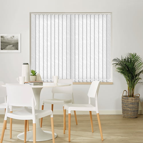 Roma White Wavy Diagonal Textured Jacquard Weave Vertical Blinds
