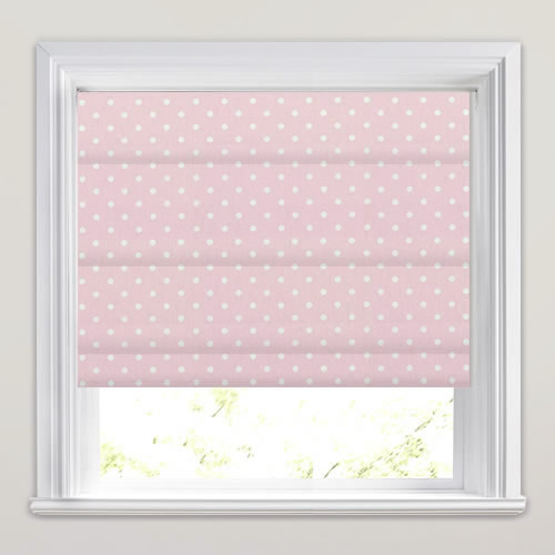 Rose Pink Amp White Polka Dots Patterned Nursery Roman Blinds