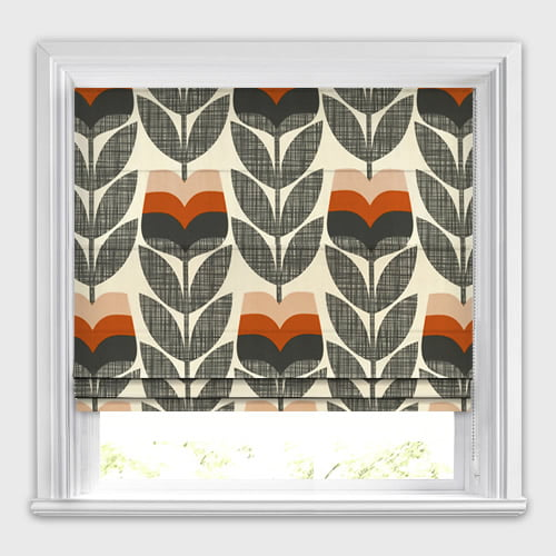 Rosebud Orange Orla Kiely Roman Blinds Made To Measure