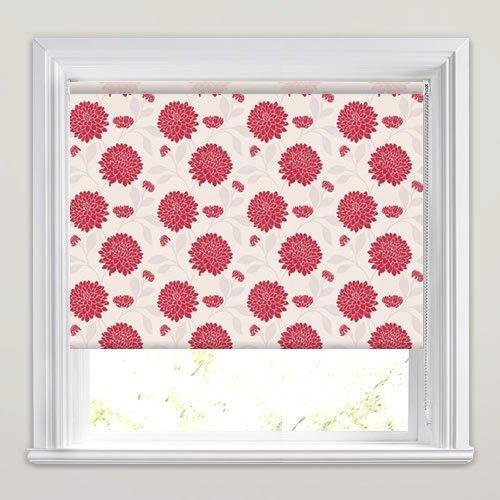 Rouge Red & White Contemporary Flowers Patterned Roller Blinds