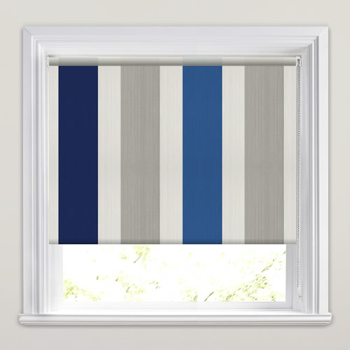 Broad Vertical Striped Roller Blinds In Royal Amp Navy Blue