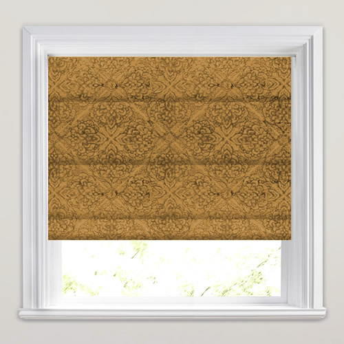 Saffron Gold Chenille Like Velour Textured Damask Roman Blinds
