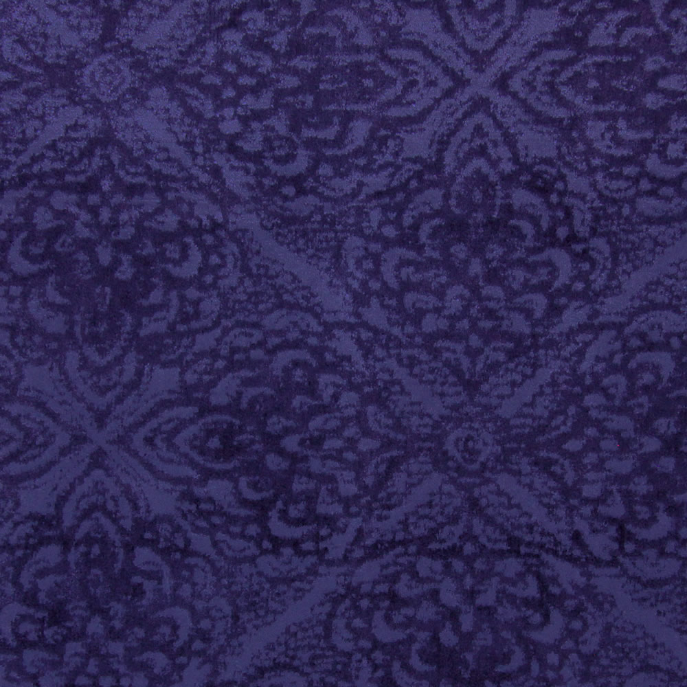 Luxurious Shimmering Velour Indigo Blue Damask Roman Blinds