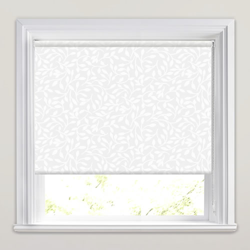 White Roller Blinds : Brilliant white semi sheer leaf patterned roller blinds