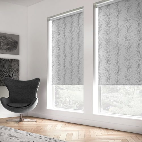 Metallic Forest Trees Patterned Roller Blinds In Silver Amp Grey