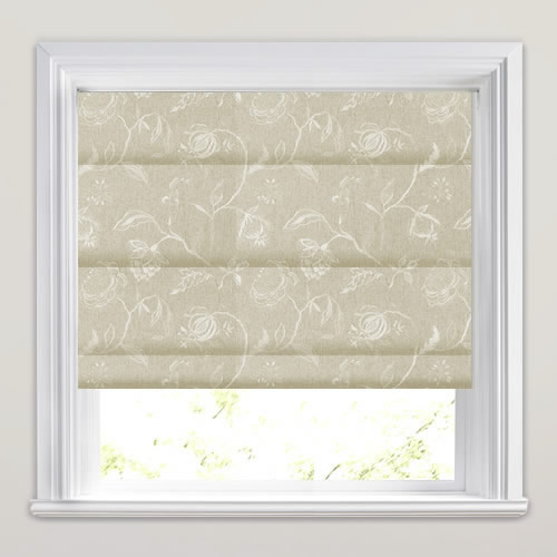 Shimmering Silver Amp Linen Embroidered Flowers Roman Blinds