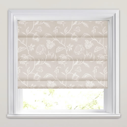 Luxurious Silver Amp Stone Floral Embroidered Roman Blinds