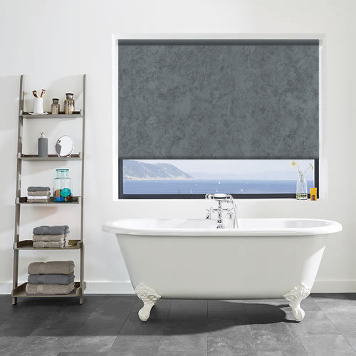 Waterproof Roller Blinds For Bathroom Windows Grey Patterned