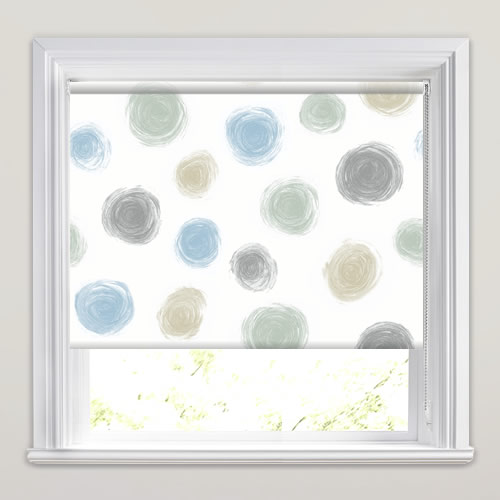 Swirling Circle Patterned Roller Blinds In Blue Clay