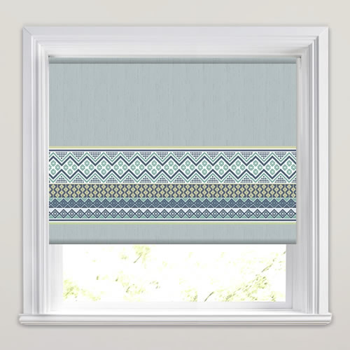 Aztec Columbia Blue Patterned Roller Blinds