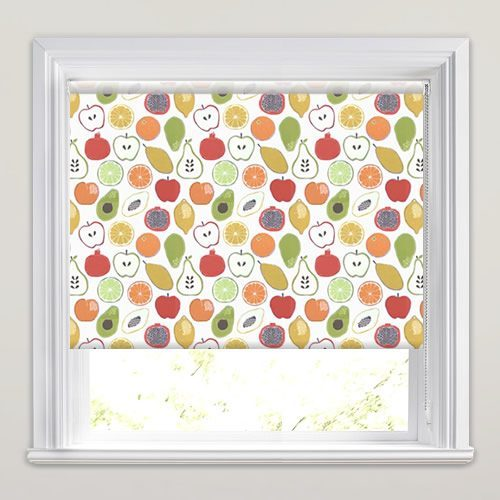 Colourful Fruit Patterned Kitchen Roller Blinds In Red