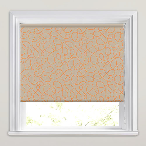 Squiggle Orange Roller Blind