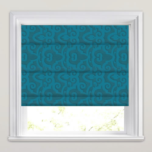 Vibrant Rich Blue Luxurious Damask Patterned Roman Blinds