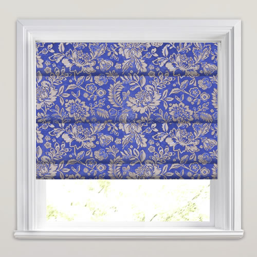 Luxury Vibrant Blue Amp Beige Flowery Patterned Roman Blinds