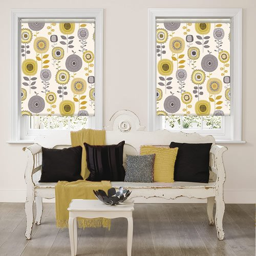 Retro Yellow Amp Grey Abstract Flowers Patterned Roller Blinds