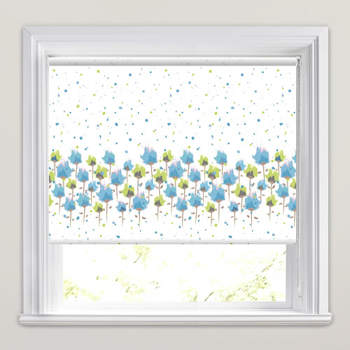 Painted Flowers Patterned Blackout Roller Blinds In Blue