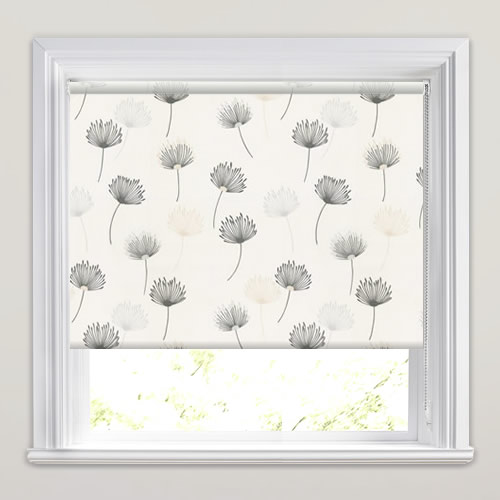 Contemporary Dandelion Patterned Roller Blinds In White