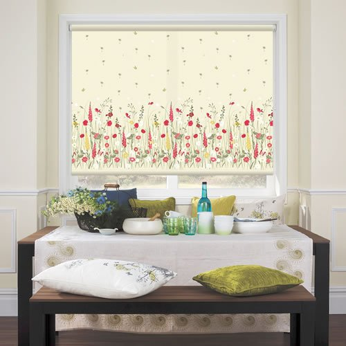Kitchen Roller Blinds, Country Garden, Wild Meadow Patterned