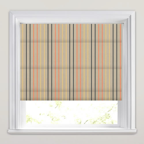 Orange Yellow Charcoal Amp Beige Pinstripe Roman Blinds