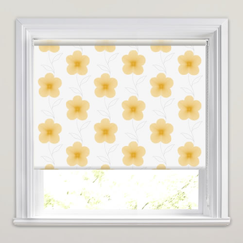 Pretty Digital Flowers Patterned Roller Blinds In Yellow