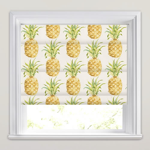 Golden Yellow Green Amp White Pineapple Patterned Roman Blinds