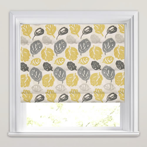 Yellow Grey Cream Amp White Modern Leaves Patterned Roman