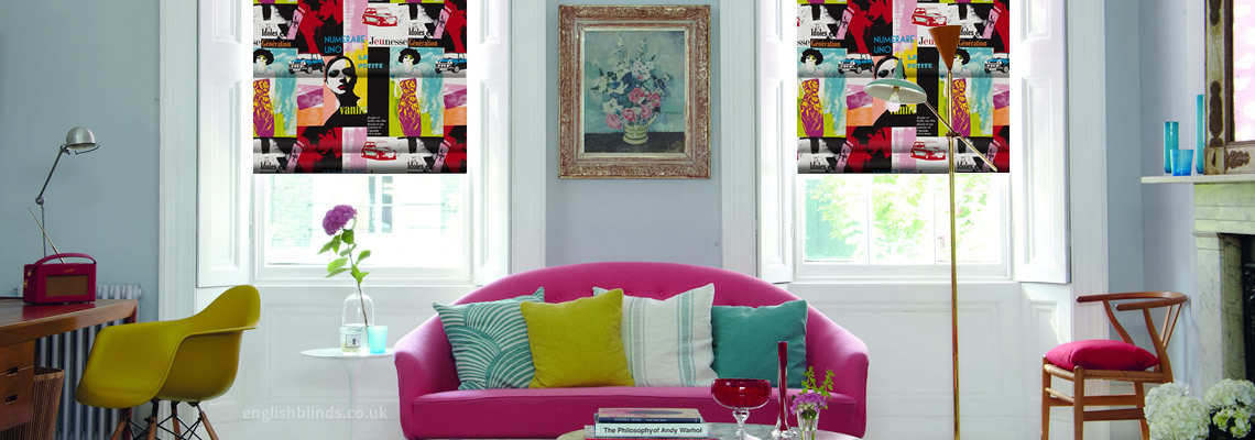 Luxury pop art roman blinds made to measure by english blinds for Pop window design